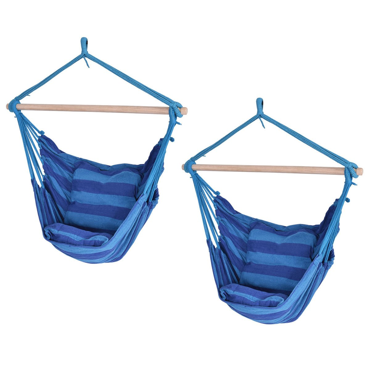Blue Deluxe Hammock Rope Chair Porch Yard Tree Hanging Air Swing Patio Set of 2 by Caraya