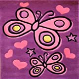 Flair Rugs Kiddy Play Butterfly Childrens Rug, Purple, 90 x 90 Cm by Flair Rugs