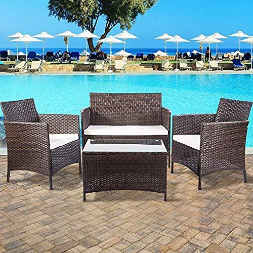 Leisure Zone Merax 4 PCS Patio Furniture Outdoor Garden Conversation Wicker Sofa Set with Beige Cushion, Brown/L