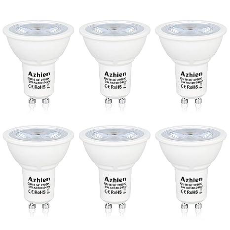 Bombillas LED Gu10 5W Azhien, Lampara de Led, Blanco Cálido 2700K, LED de
