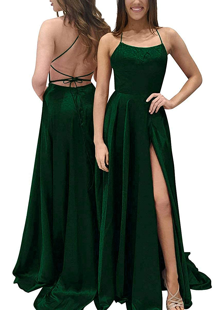 Dark Green Tmaoomo Satin Side Slit Long Prom Dress Spaghetti Straps Evening Party Gown with Pockets