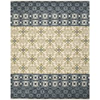 Safavieh Bella Collection BEL119A Handmade Ivory and Blue Premium Wool Area Rug (8 x 10)