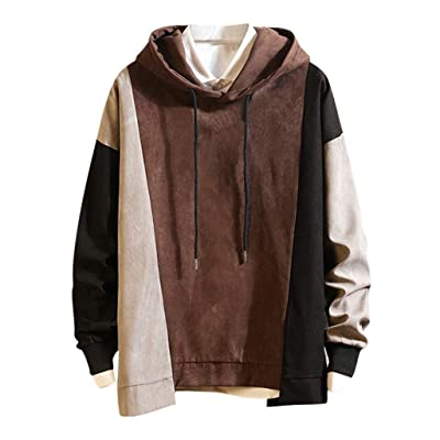 WINJUD Mens Sweatshirt Long Sleeve Hooded Top Big and Tall Color Block Patchwork Hoodies at Men's Clothing store