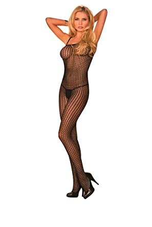 7dd2077685 Elegant Moments Black Seamless lycra crochet bodystocking with open crotch.  One Size and Plus Size  Amazon.co.uk  Health   Personal Care