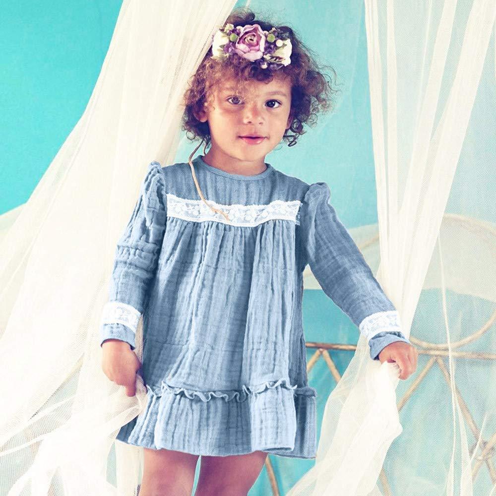 QinMM 0-3 a/ños Vestido de Princesa Encaje de s/ólido de Volantes Manga Larga oto/ño Invierno Vestido de ni/ña beb/é