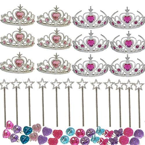 [Kids Princess Party Set -Princess Girls Party Favors Set -Princess Party Decoration-Tiara Dress Up Play Set ,12 Princess Tiaras, 12 13