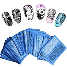 48 styles Nail Art Water Transfers 3D Stickers Decals Gel Polish White Black Patterns Stickers