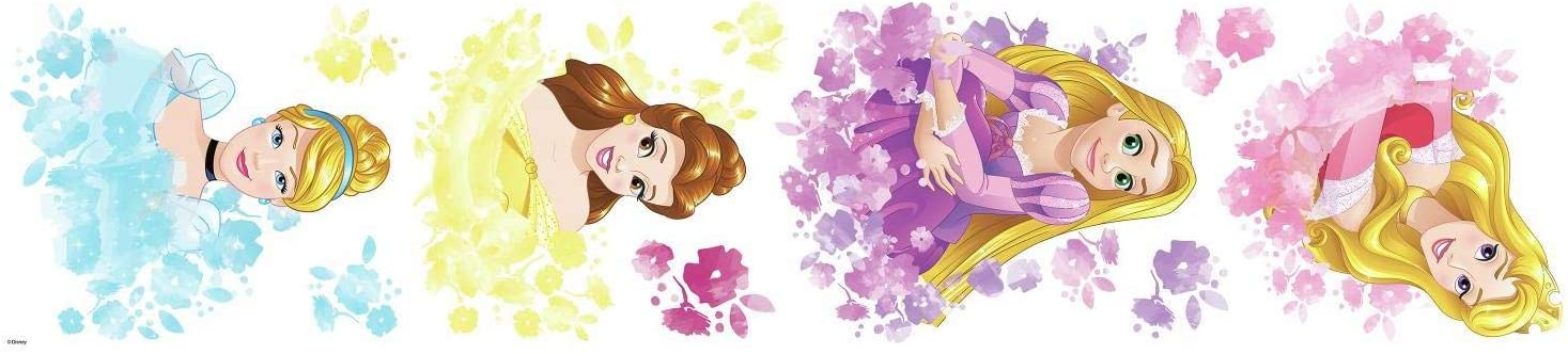 Belle /& Cinderella Stickers by Roommates Rapunzel Disney Princess Floral Peel and Stick Wall Decals Aurora