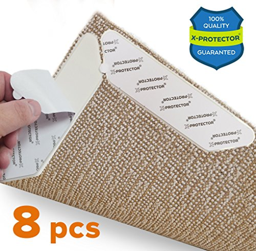 X-Protector Rug Grippers NEW 8 pcs Anti Curling Rug Gripper – Rug Pad. Keeps Your Rug in Place & Corners Flat. Carpet Gripper Renewable Gripper Tape – Rug Tape. ORIGINAL BRAND - AVOID THE COPIES! by X-Protector