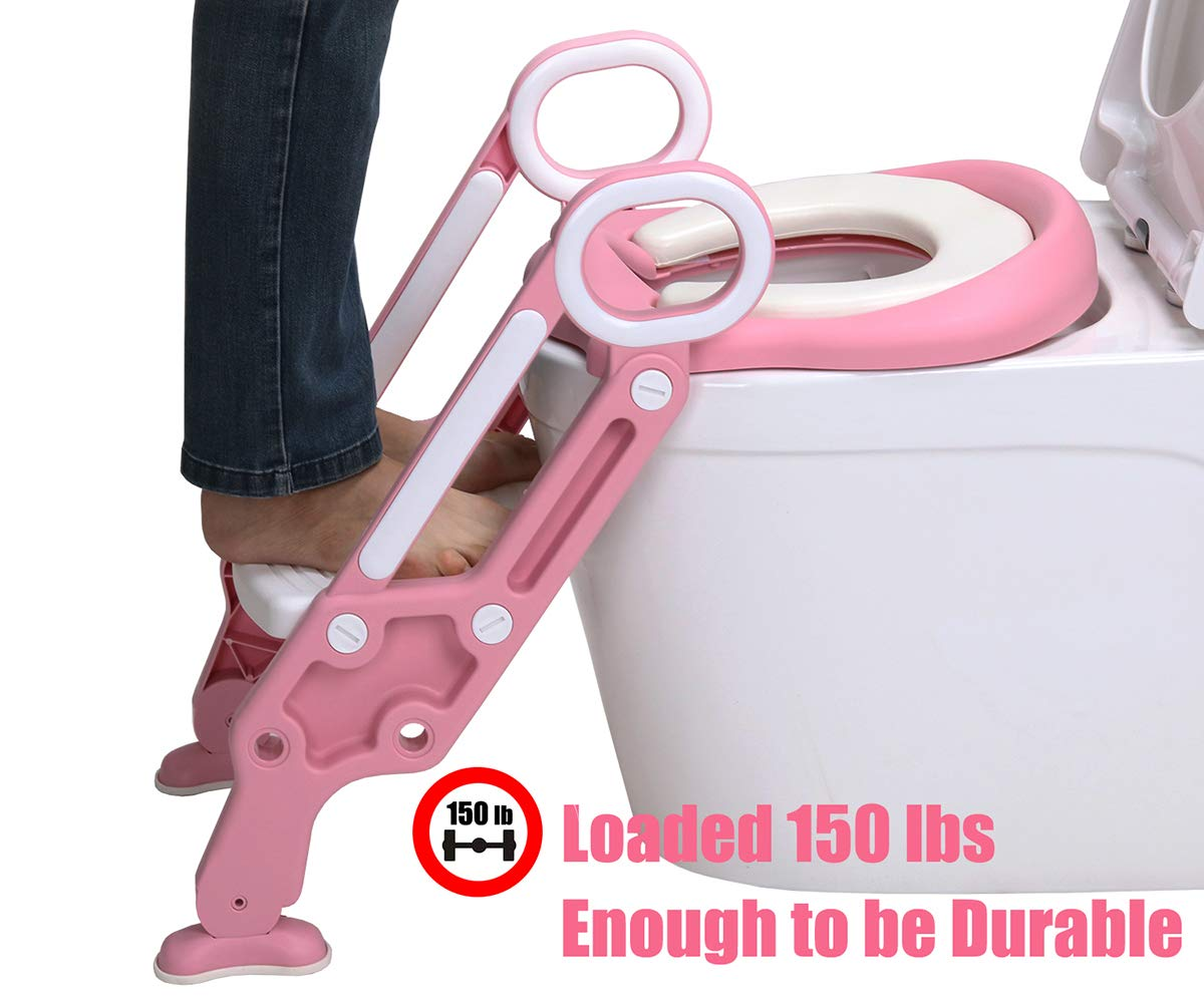LANGXUN Potty Training Seat with Ladder for Boys and Girls,Baby Toddler Toilet Training Seat with Soft Toilet Seat and Sturdy Step Stool Ladder and Non-Slip Wide Step Pink//White