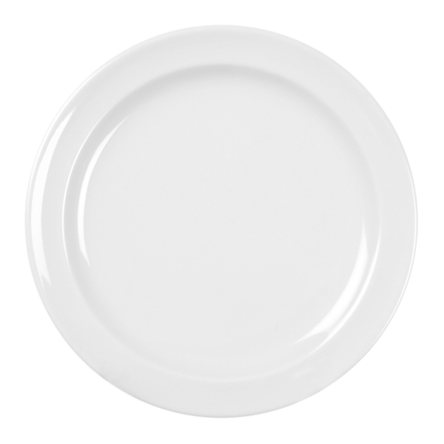 Excellanté Milan Melamine White Collection 7-1/4-Inch Round Dessert Plate, White, 12-Piece
