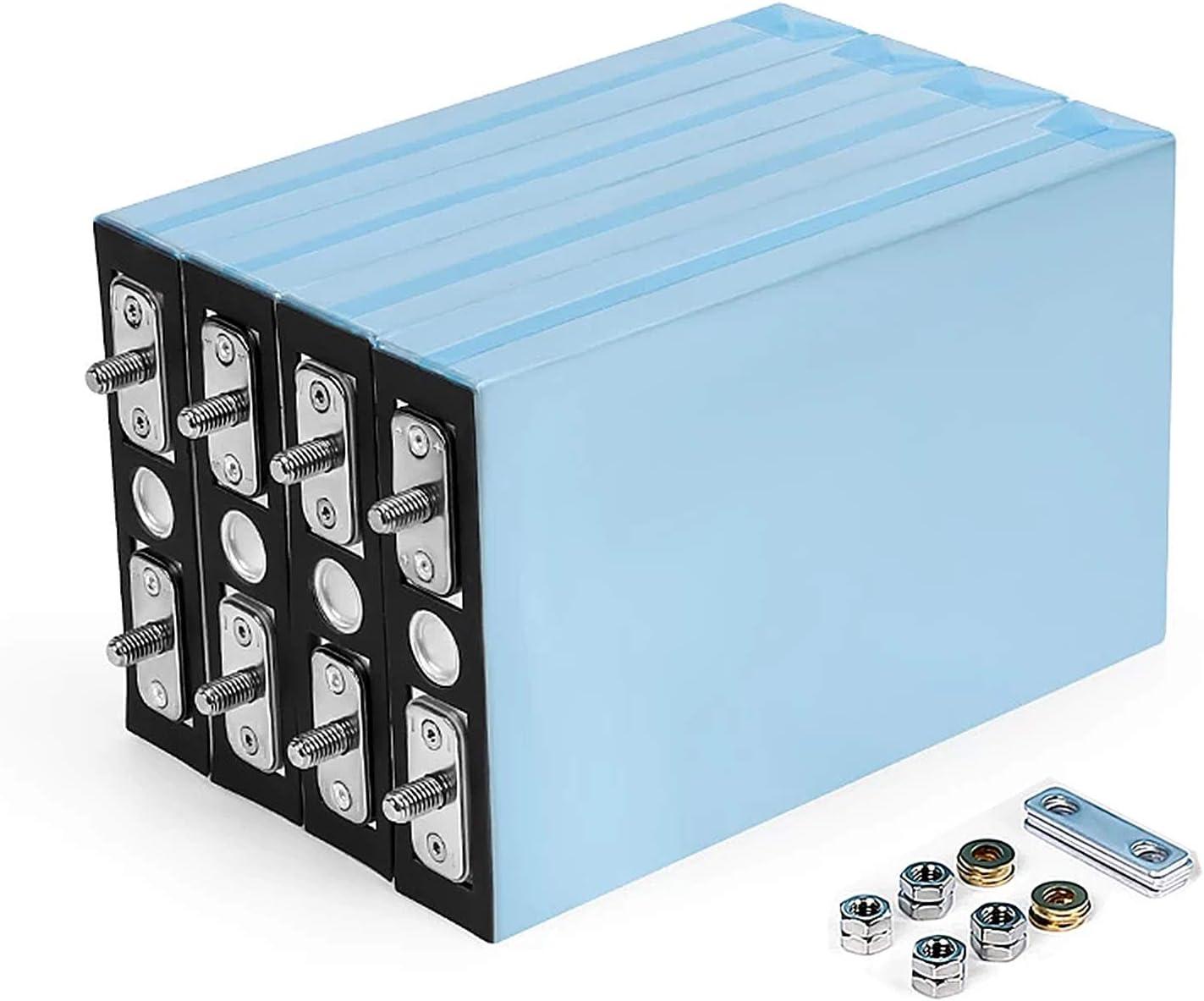 QMRePow 3.2V 100Ah LiFePO4 Batería Células de fosfato de Hierro de Litio 12V 24V 48V 100Ah Baterías for Solar/EV/RV (Color : 8PCS)