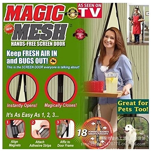 Greenery 2015 Trendy Magnetic Screen Door Heavy Duty Velcro and Magnets Sewn No Gaps 39 x 83 Frame-Fits Door Openings UP TO 37 X 82 Retractable Door Closes Like Magic /No Fall Apart Like Magic Mesh As Seen On TV, Magna Bugs-Not-Invited Guarantee! (Cream)