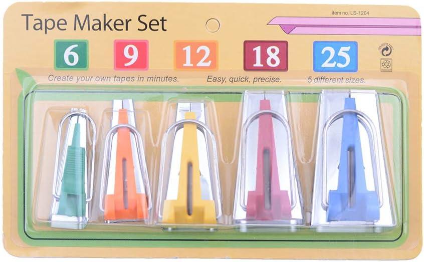 Bias Tape Maker Tools 5 Sizes DIY Quilting Tools Kit Sewing Bias Tape Makers for Quilt Binding