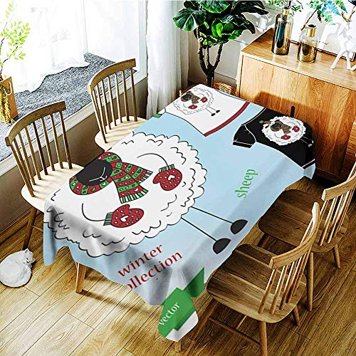 AGONIU Small Rectangular Tablecloth,Sheep in Winter hat Graphic T- Shirt Design Print,Table Cover for Kitchen Dinning Tabletop Decoratio,W60x84L ()