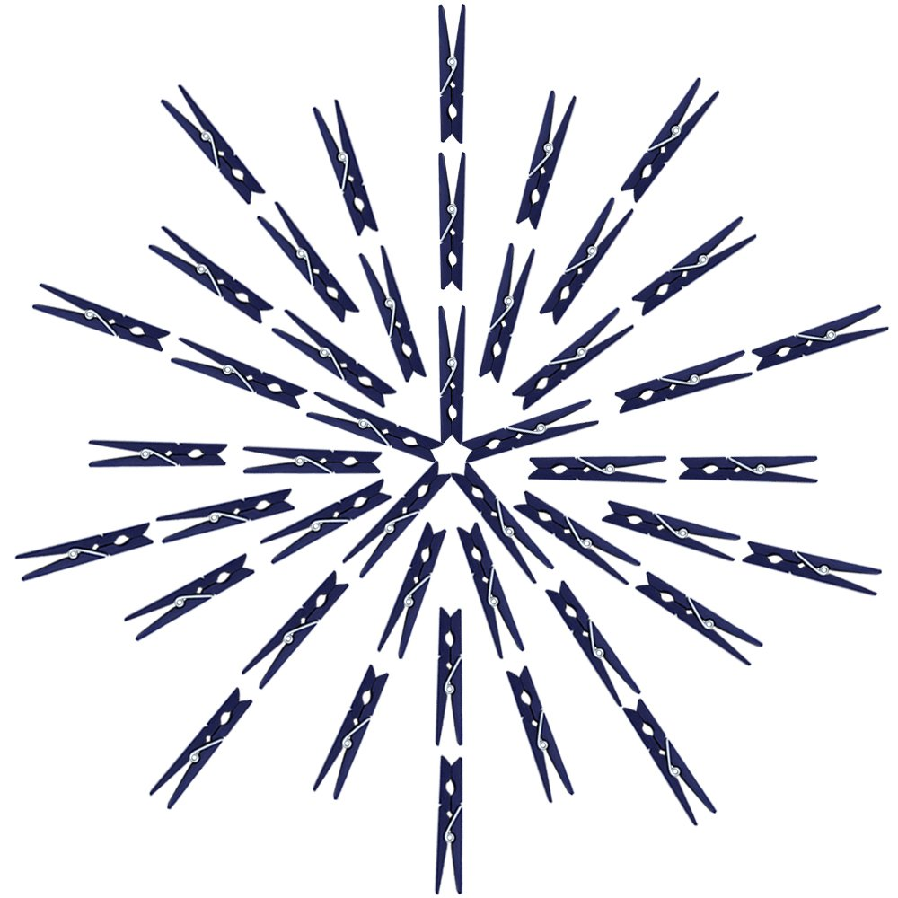 Just Artifacts 2.75-inch Craft Wood Clothespins/Peg Pins (100pc, Navy Blue)