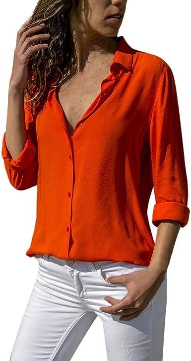 Qingsiy 2019 Blusa Color sólido botón Abajo para Mujer, Camiseta Atractivo de Moda con Cuello en V Camiseta Manga Larga Blusa Tops Casuales Blusa Tallas Grandes(Rojo, S): Amazon.es: Ropa y accesorios