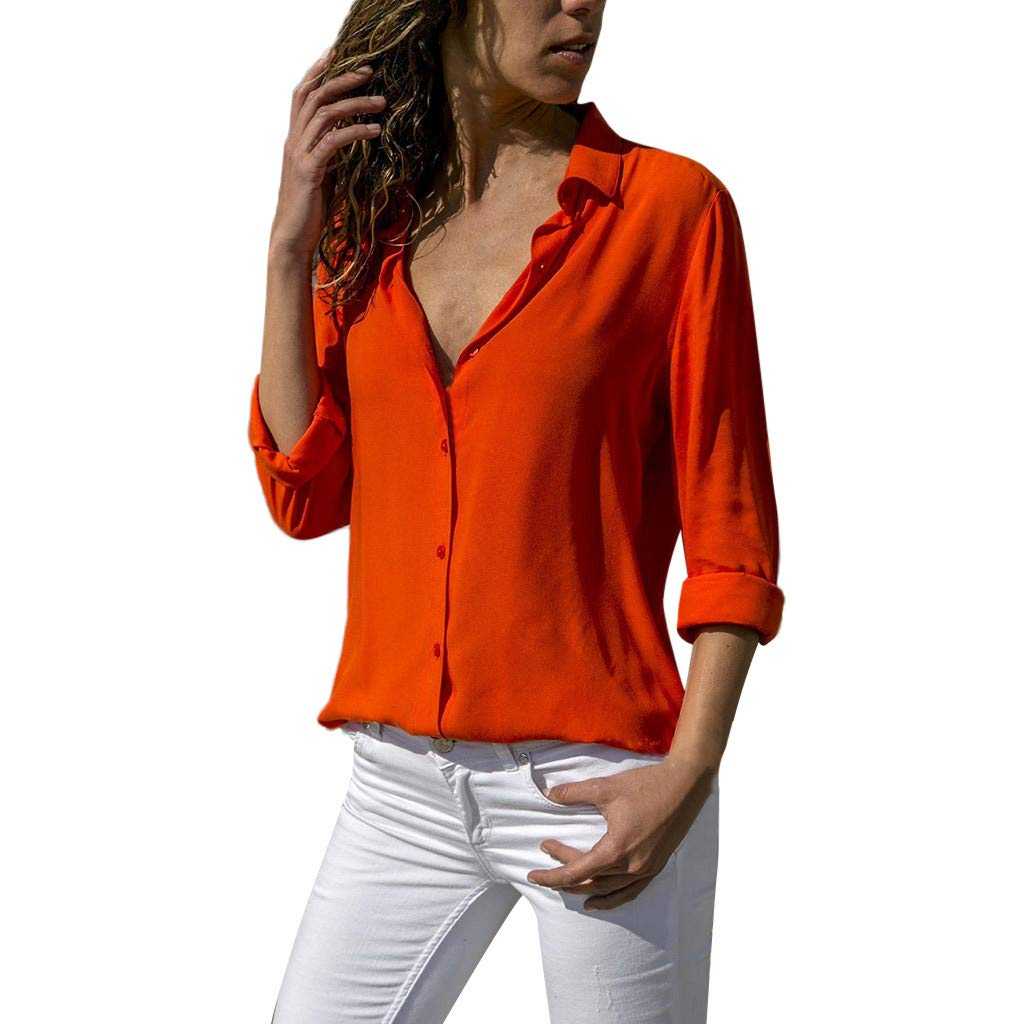 Funic Fashion Womens Spring Blouse Chiffon Solid Color T-Shirt Office Ladies Plain Roll Sleeve Tops