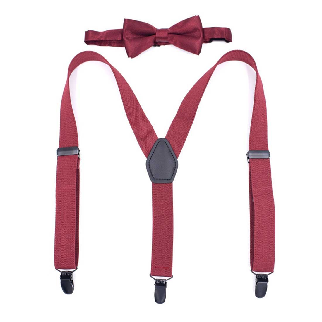 Romanlin Bow Tie and Suspenders Set for Boys Elastic Adjustable Black Clips for Wedding Suspenders Outfit (Burgandy)