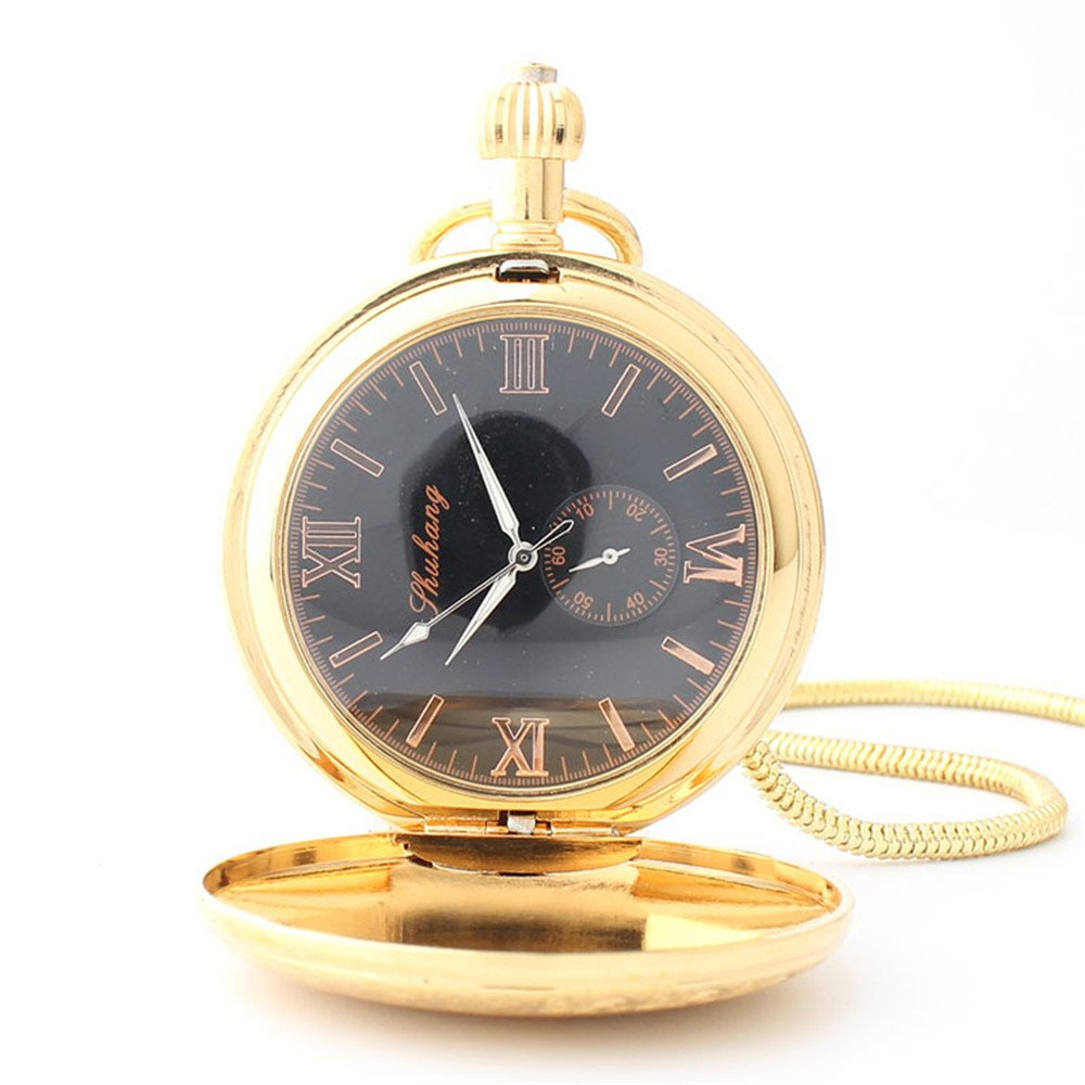 Zxcvlina Classic Smooth Men Women Mechanical Pocket Watch Golden Retro Carved Pocket Watch with Chain Suitable for Gift Giving by Zxcvlina (Image #4)
