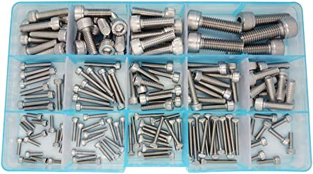 HVAZI 300pcs Metric M2 M2.5 M3 Stainless Steel Hex Socket Head Cap Screws Assortment Kit