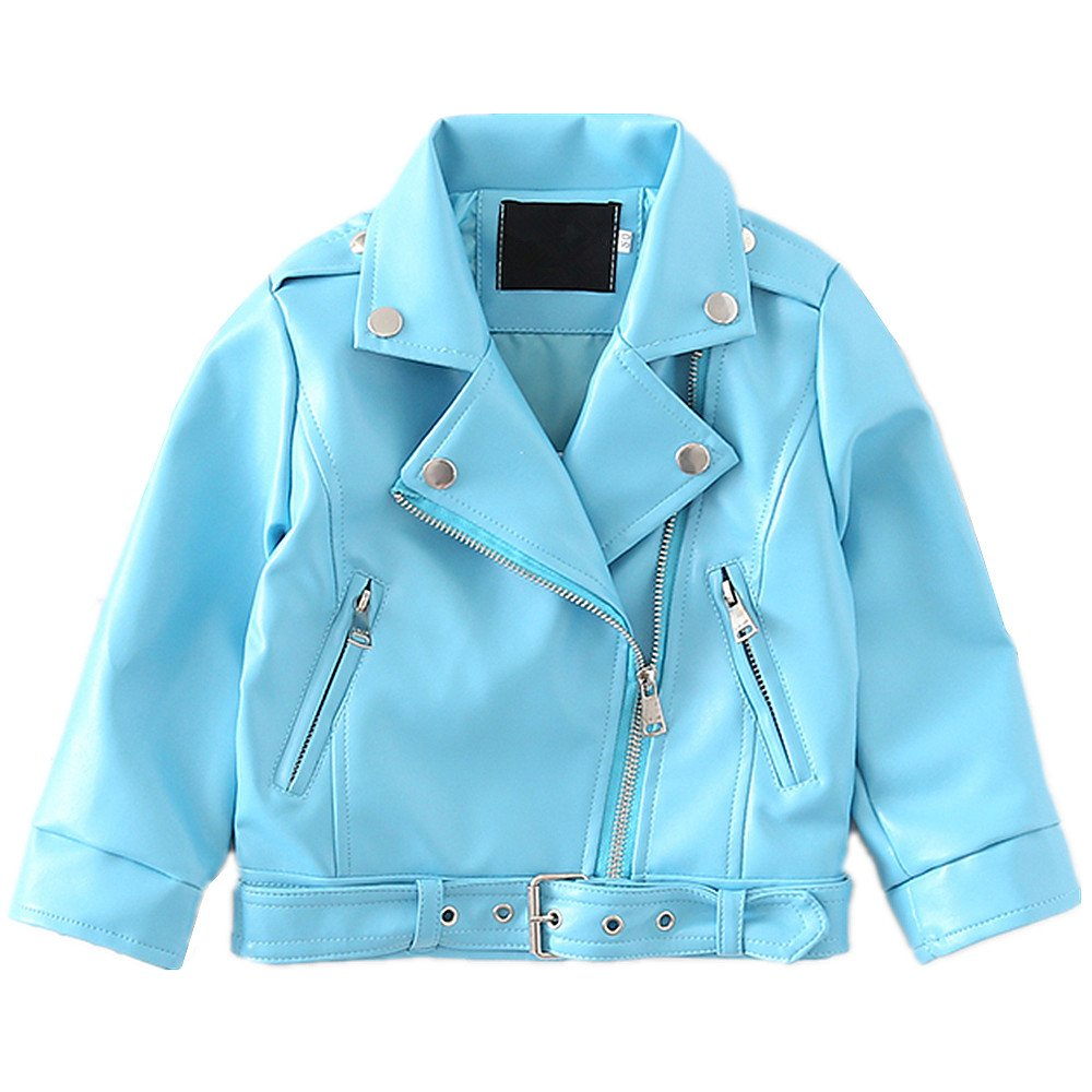 LJYH Baby Boys Girls Blue Faux Leather Jacket New Spring Children's Collar Motorcycle Zipper Coat