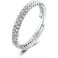 ZIVOM Three Line Austrian Rhinestone Crystal Stretch Elastic Bracelet for Girls Women