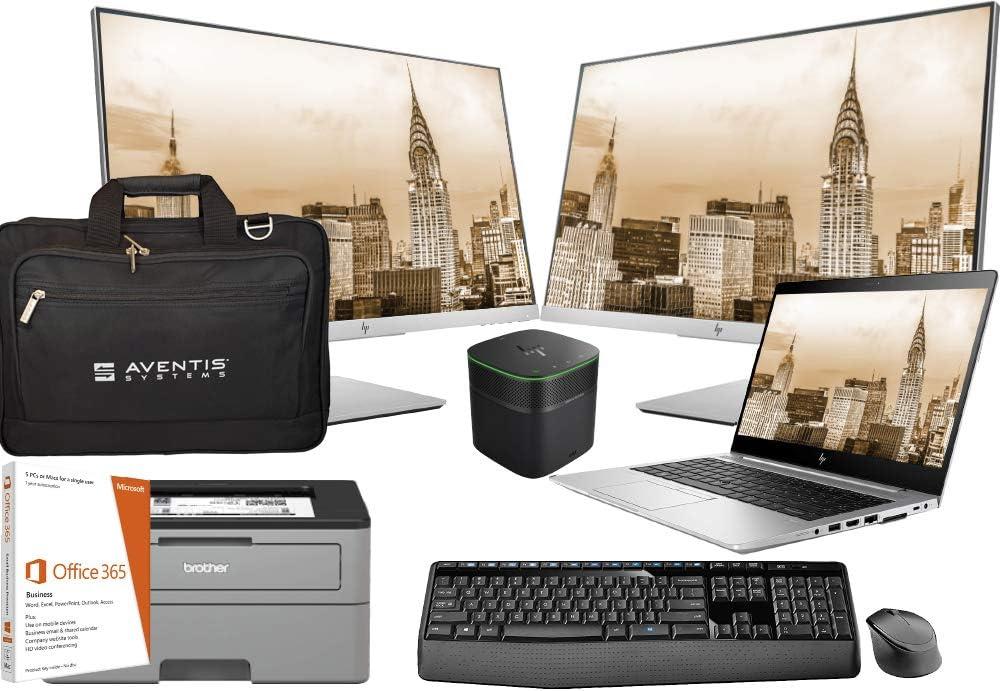 HP Elitebook 745 G5 14 Inch FHD Touchscreen Laptop Bundle with Office 365, Dock, 2 E243 Monitors, Keyboard, Mouse, Printer, Bag, AMD Ryzen 7 2700U 4-Core CPU, 16GB DDR4, 512GB NVMe SSD, Win 10 Pro