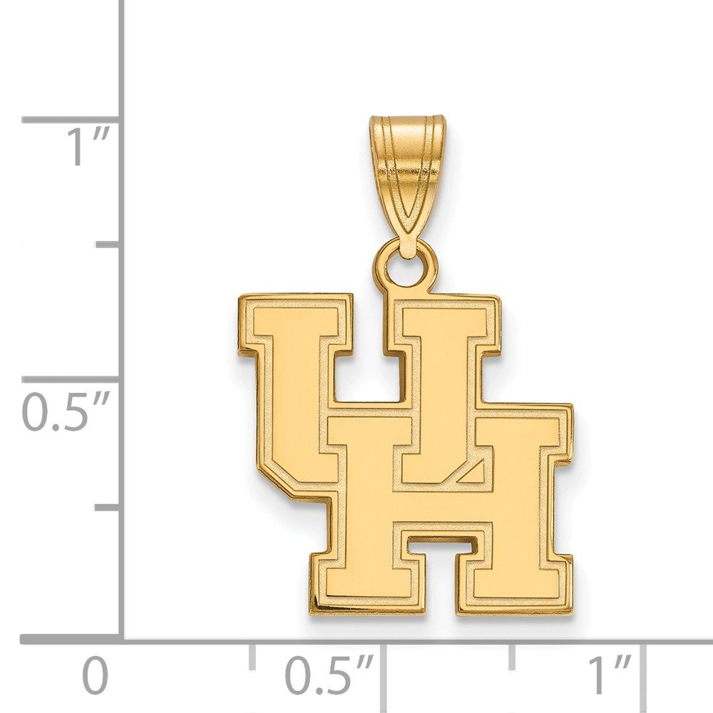 Jewel Tie 925 Sterling Silver with Gold-Toned University of Houston Medium Pendant 16mm x 24mm