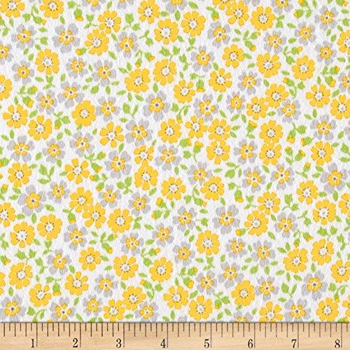 Robert Kaufman 0440327 Kaufman Cozy Cotton Flannel Flower Yellow Fabric by The Yard,