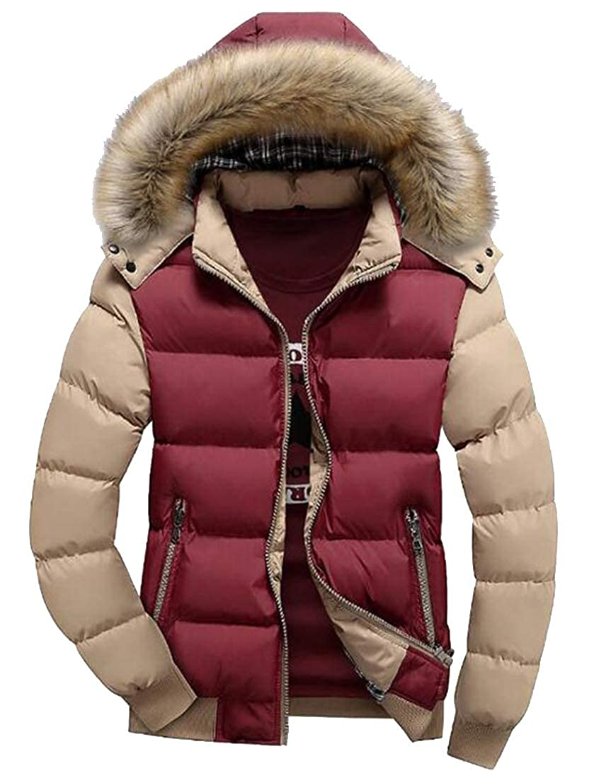 Fubotevic Men Zip Up Hooded Warm Contrast Winter Down Quilted Jacket Coat