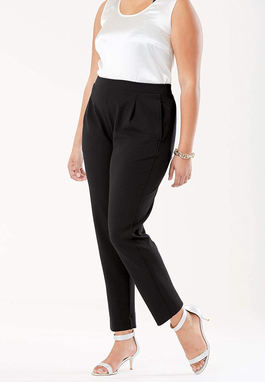 1950s Pants & Jeans- High Waist, Wide Leg, Capri, Pedal Pushers Plus Size Signature Knit Crepe Tapered Ankle Pant Jessica London Womens $27.77 AT vintagedancer.com
