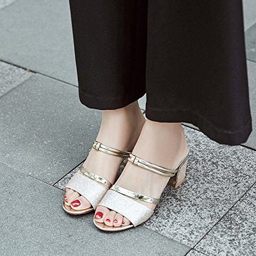 heels silver with fashion ladies with heels Golden WHLShoes high Thick Women's summer wild sandals wear leisure Sandals thick t1wwqB6