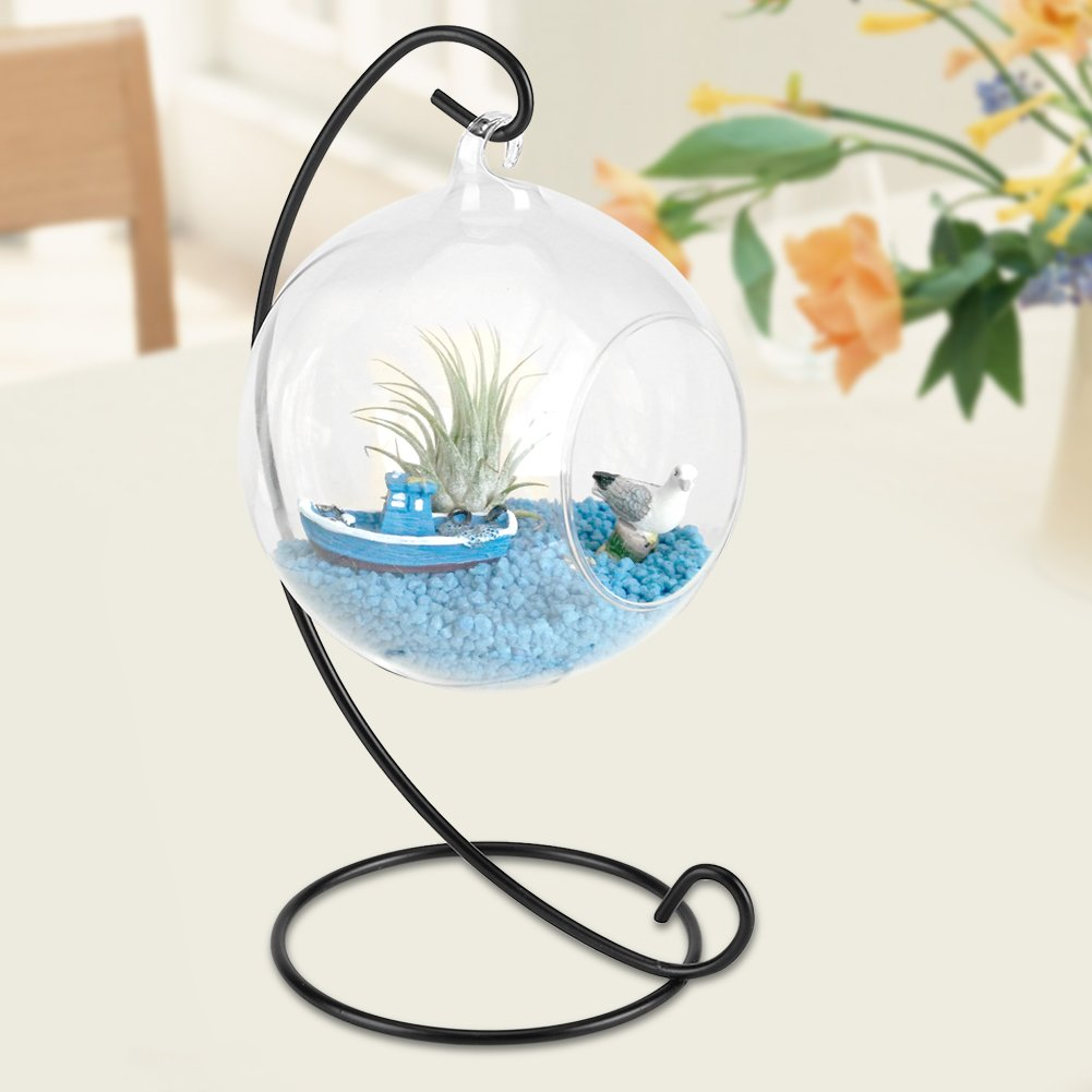 Glass Hanging Planter, Glass Orbs Plant Holder with Stand Glass Hanging Vase Candle Holder Set for Indoor Plants House Ornaments, Courtyard or Veranda 2Pcs