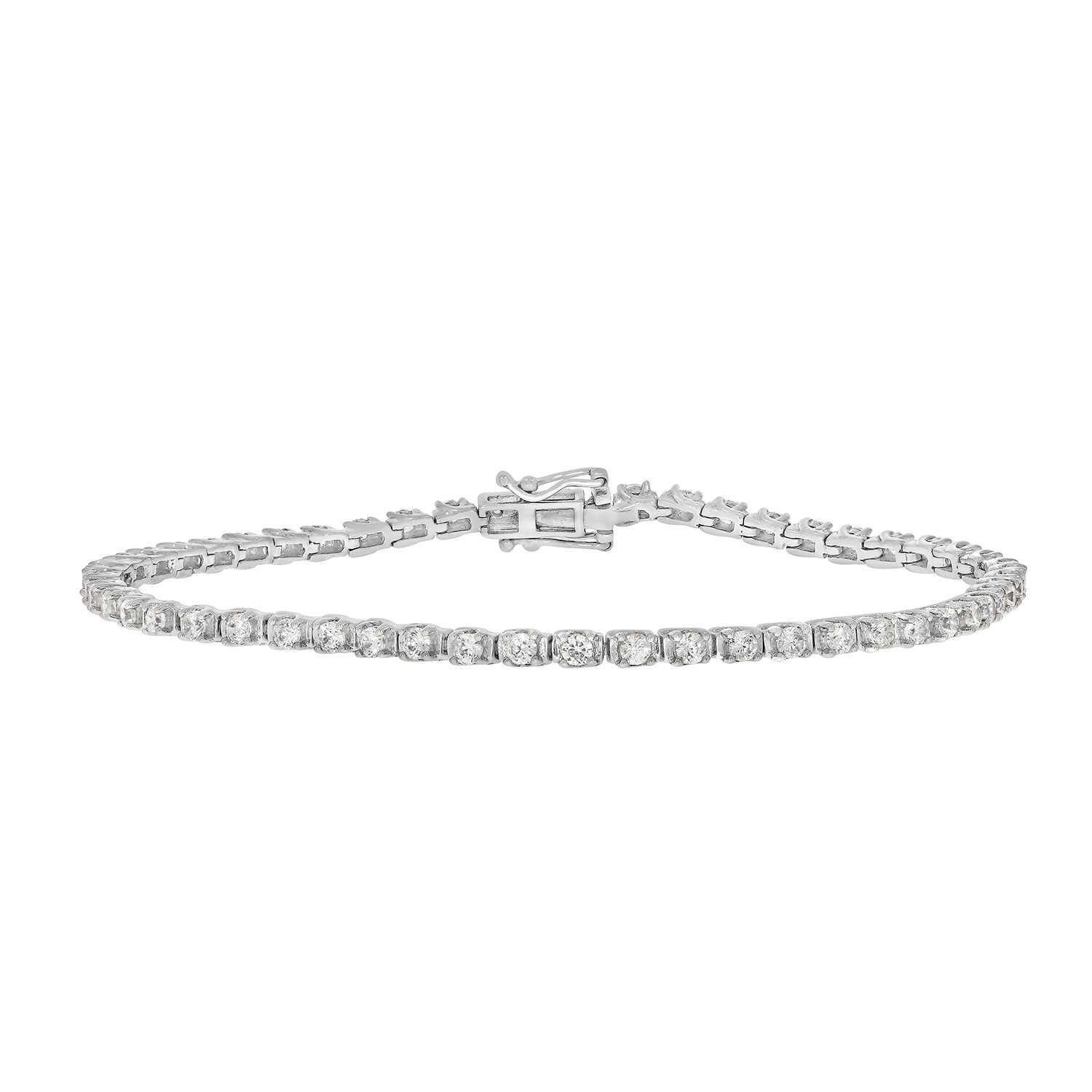2 cttw Round Cut White Diamond 4 Prong Ladies Tennis Bracelet Crafted in 10k White Gold by eSparkle