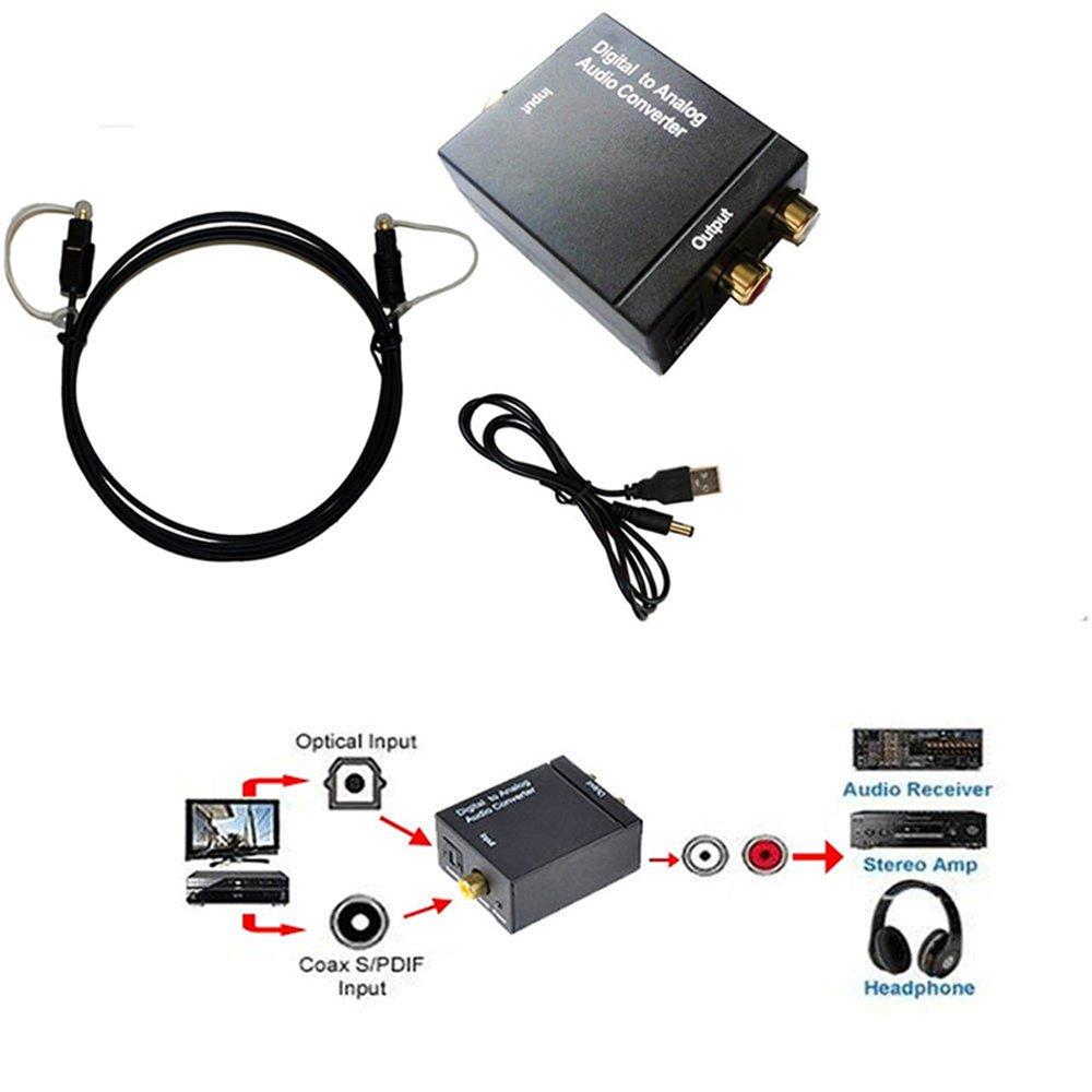 Binglinghua - Adaptador de Audio óptico Coaxial Toslink Digital a Analógico RCA L/R: Amazon.es: Electrónica