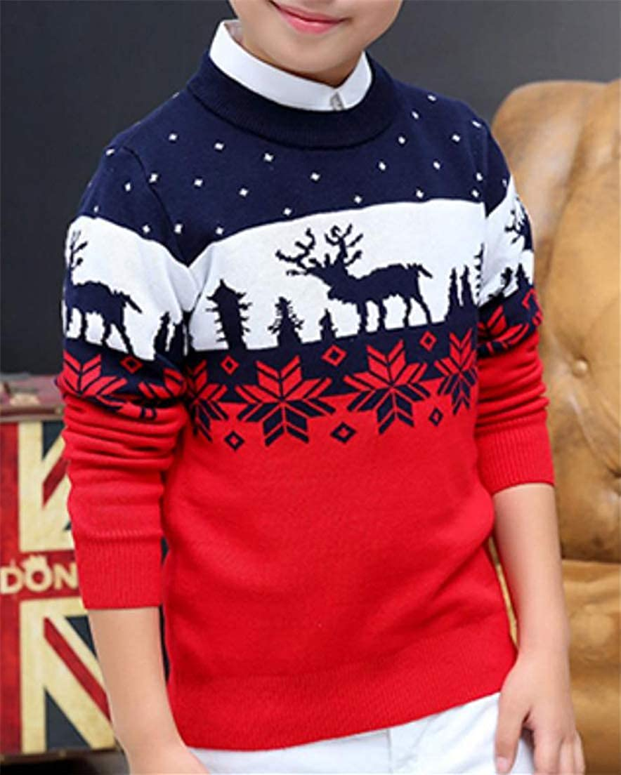 XTX Boy Knitting Crew Neck Printing Classical X-Mas Kids Sweaters