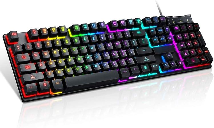 Sidougeri Teclado para videojuegos con cable USB, 104 teclas, teclado mecánico para juegos con retroiluminación LED RGB, para oficina en casa