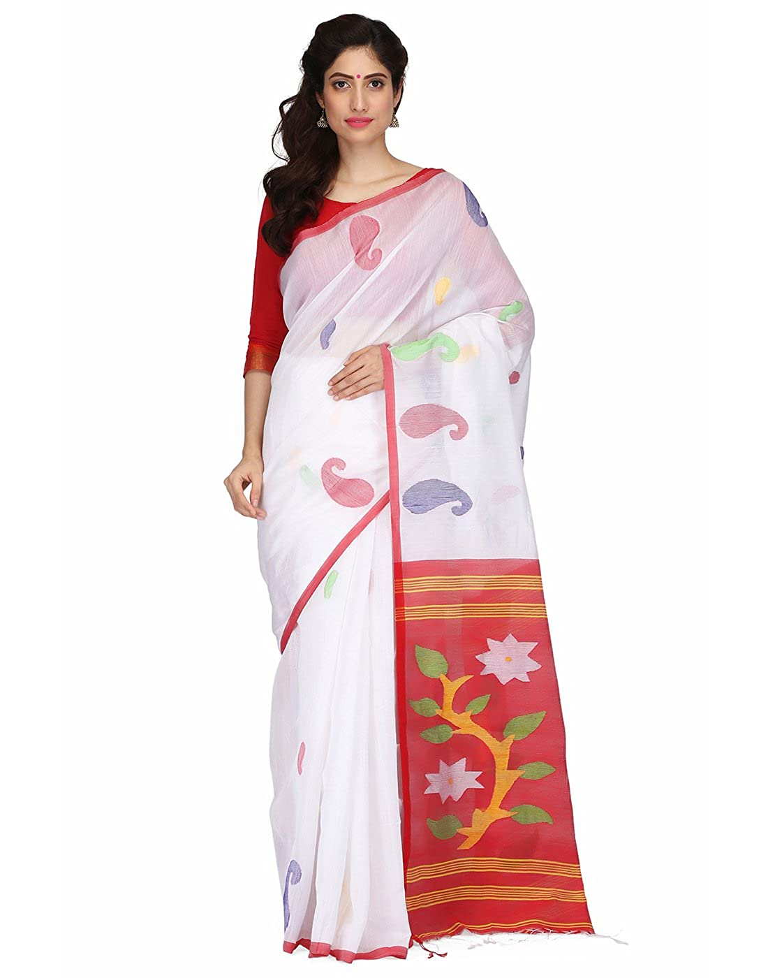5459c4847070b4 The Weave Traveller Handloom Hand Woven Half & Half Cotton Silk Jamdani  Saree For Women With Attached Blouse: Amazon.in: Clothing & Accessories