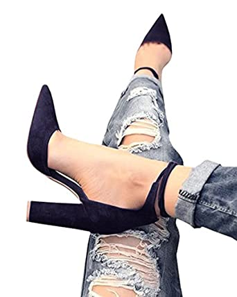 Huiyuzhi Womens Chunky Ankle Strappy Sandal Pointed Toe High Heels Black 10  B(M)