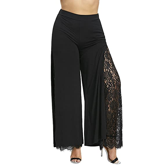 YTJH Plus Size Women Pants High Slit Lace Palazzo Trousers Elegant Fashion  Wide Leg Elastic Waist Summer Retro Style Office Lady