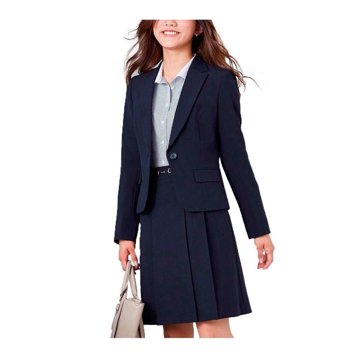 (ニッセン) nissen スーツ 上下 セットアップ ジャケット スカート 洗える オフィス ビジネス レディース B077TPN79F 15号|ネイビー ネイビー 15号