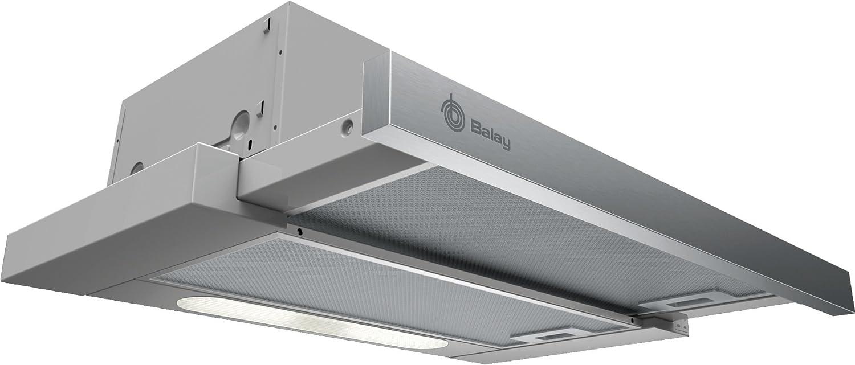 Balay 3BT262MX Telescópica o extraplana Acero inoxidable 300m³/h D - Campana (300 m³/h, Canalizado/Recirculación, E, D, D, 62 dB)