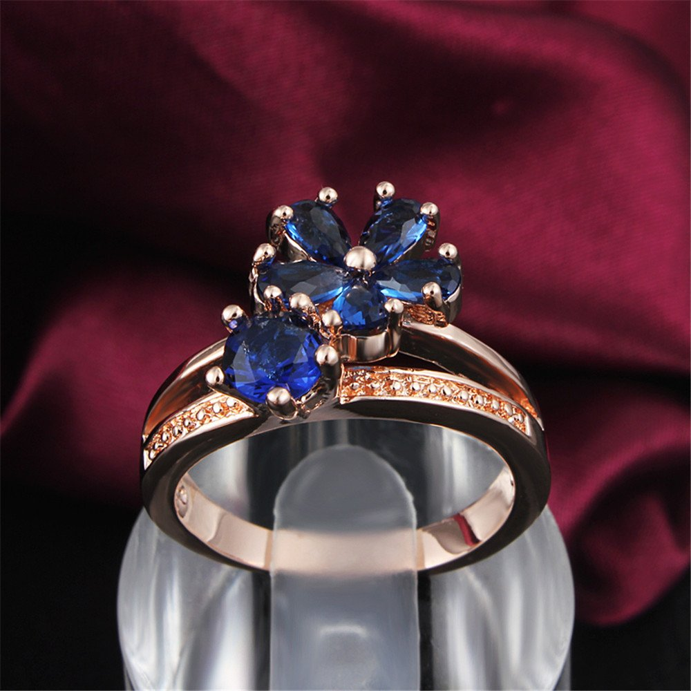 Women's Stacking Ring Pave Cubic Zircon Eternity Promise Ring Flower Top Infinity Wedding Band by 17maimeng (Image #6)