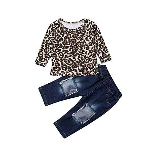 92a8791be Amazon.com  Toddler Little Baby Girls Leopard Clothes Long Sleeve ...