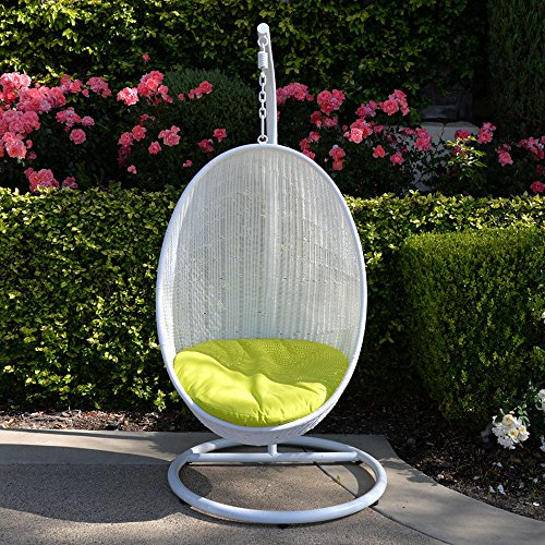 Neon Yellow White Egg Shape Wicker Rattan Swing Chair Hanging Hammock (Hanging Rattan Egg Chair)