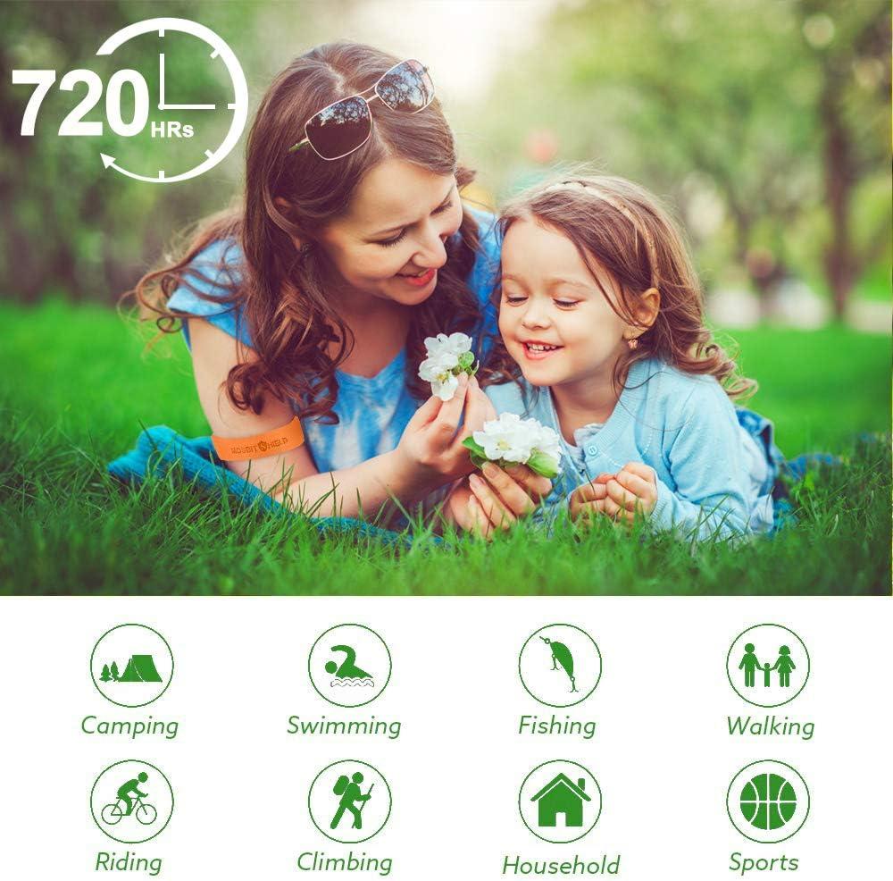 12 Pcs Mat/ériau Naturel et Non Toxiques pour Adultes et Enfants Anti Moustique Bracelet Bracelet Anti-Moustique Ext/érieure Int/érieure Bracelet Anti Moustique R/églable