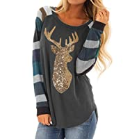 SMILEQ Top Womens Christmas Shirt Striped Sequin Reindeer Long Sleeve Cute Blouse Polo Tops