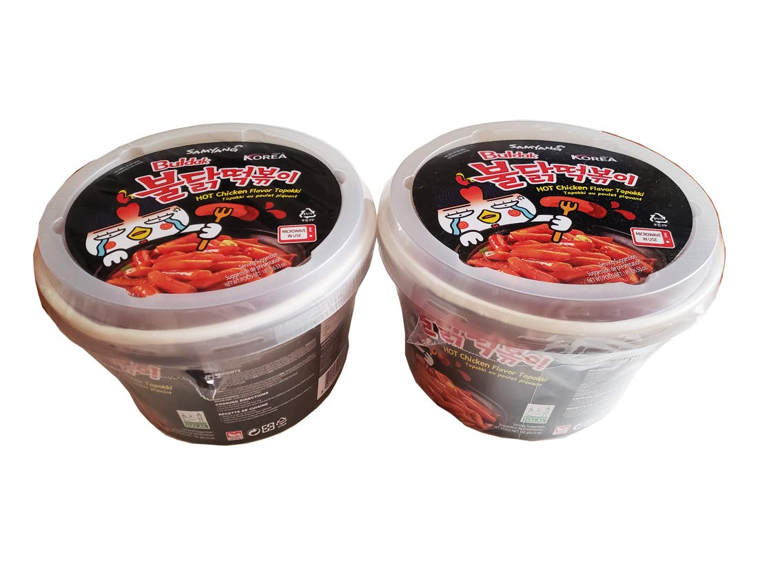Samyang Buldak Tteokbokki Korean Rice Cake Instant 17oz 480g (Pack of 2, Spicy & Roast Chicken Sauce) Snack