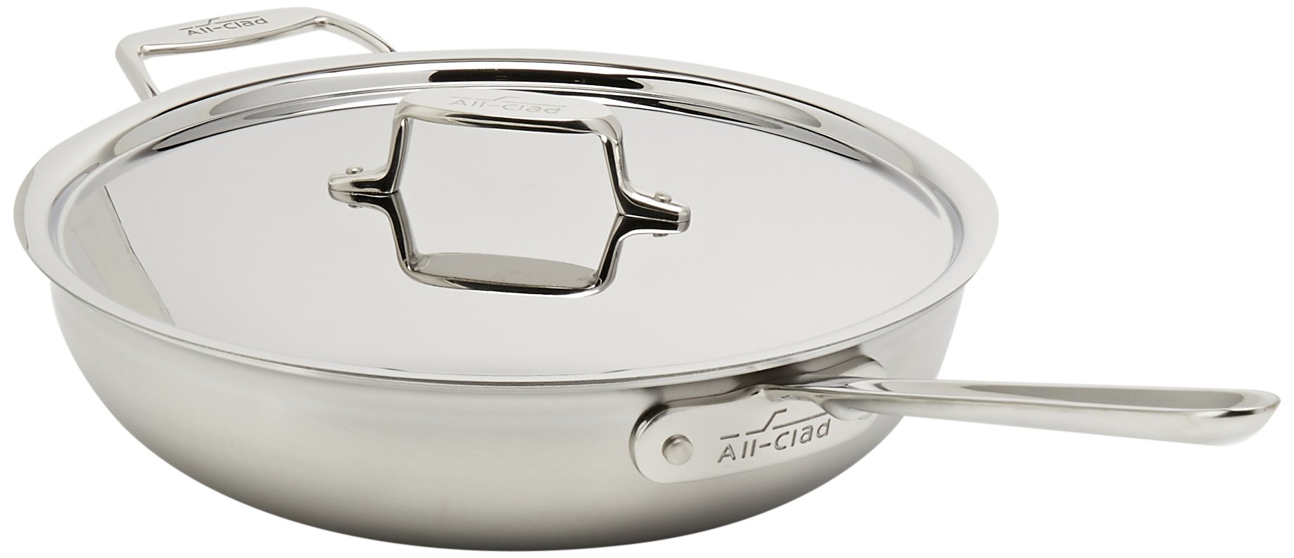All-Clad BD55404 D5 Brushed 18/10 Stainless Steel 5-Ply Dishwasher Safe Week Night Pan Cookware, 4-Quart, Silver by All-Clad (Image #2)